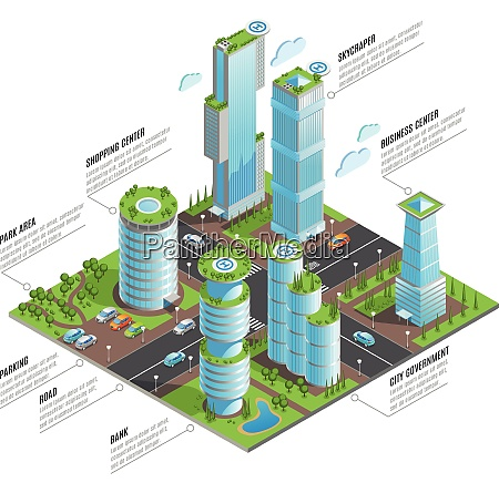 isometric futuristic skyscrapers infographics with shopping