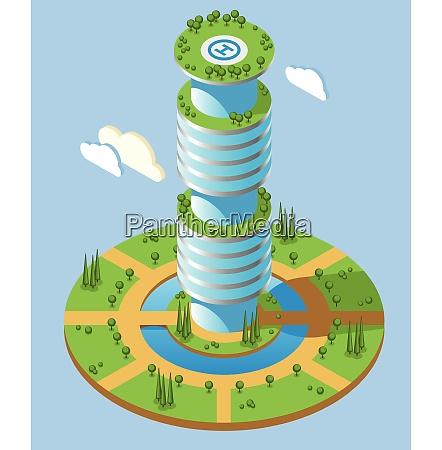 round shape isometric futuristic skyscrapers background