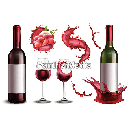 wine splash collection with isolated realistic