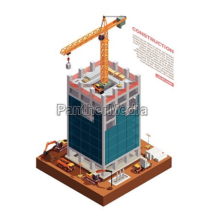 construction equipment on building site of