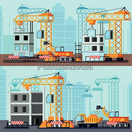 sky scraper construction flat compositions with