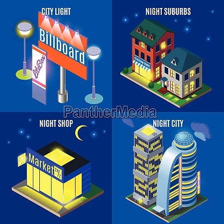 night city with urban infrastructure elements