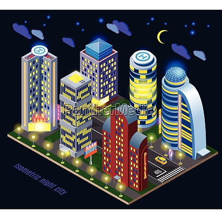 night city with illuminated tall buildings