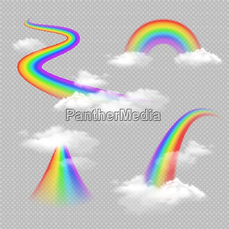 bright colored rainbow realistic transparent set