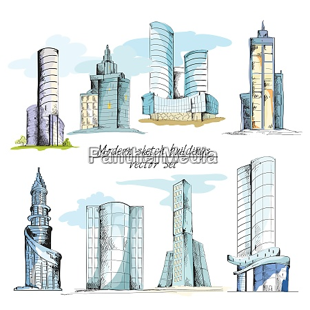 modern urban sketch building with architectural
