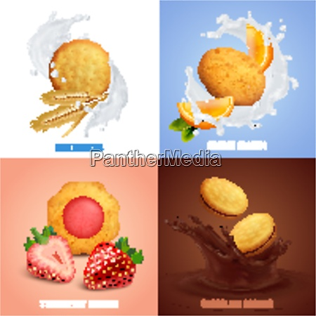 cookies realistic concept icons set with
