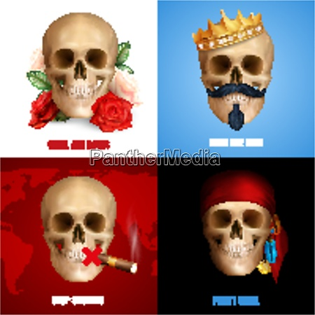 human skull 2x2 design concept with