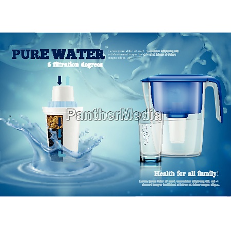 household water filter purification pitcher with