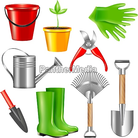 realistic gardening tool set with isolated