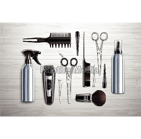 hairdressing salon barber shop tools collection