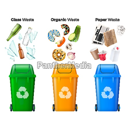 trash and recycling set with glass