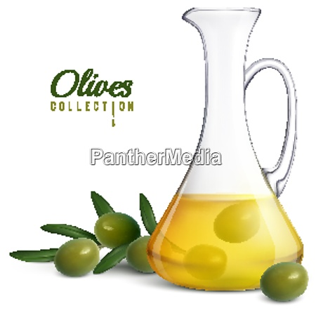 olives collection realistic composition with glass