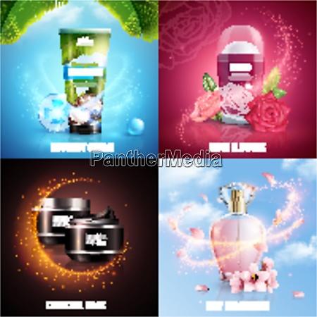 cosmetics 2x2 design concept with coconut