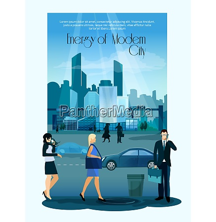 modern cityscape poster with city people