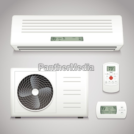air conditioner realistic set with cooling