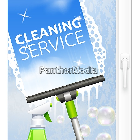 window cleaning service concept with glass