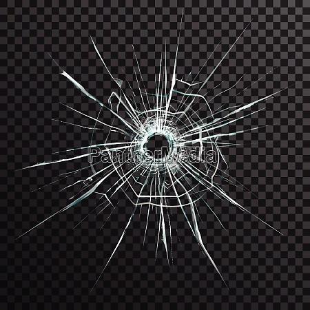 bullet hole in transparent glass on