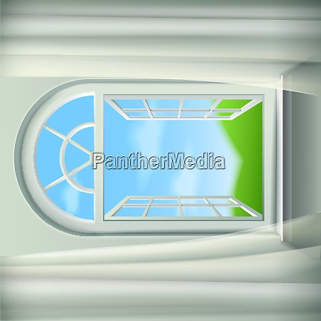 open arched window background open