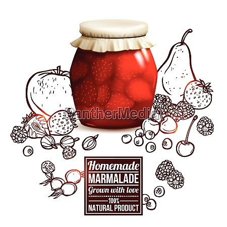 marmalade jar concept with realistic glass