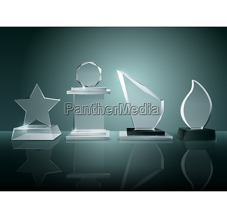 sport competitions glass trophies prizes collection