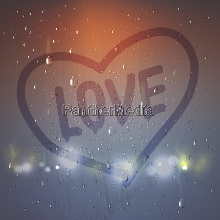 realistic love heart on misted glass