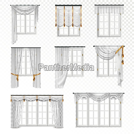 collection of realistic windows with curtains