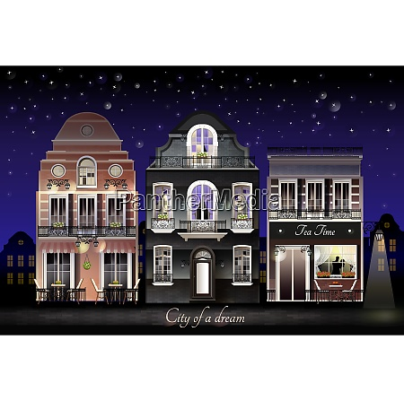 old european illuminated facade of houses