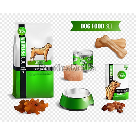 colored realistic dog food transparent icon