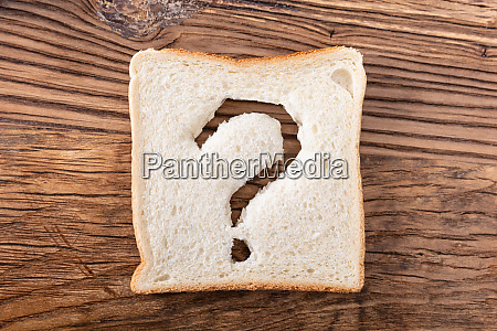 question mark sign on slice of