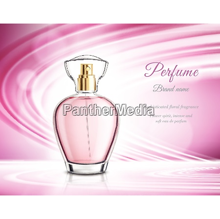 pink perfume in golden spray clear