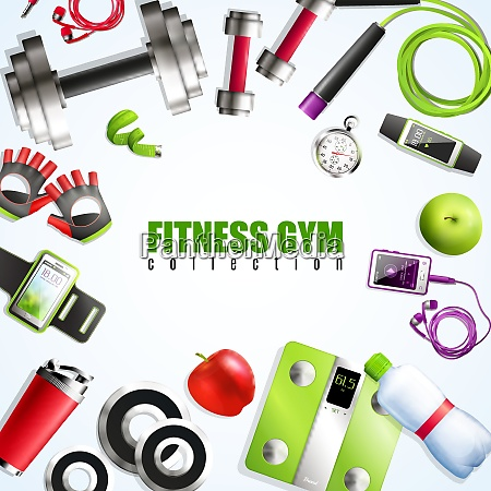 fitness gym realistic set with equipment