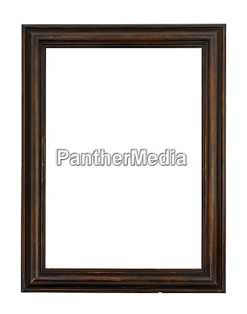 dark wooden picture frame on white