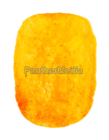 single potato chip with paprika isolated