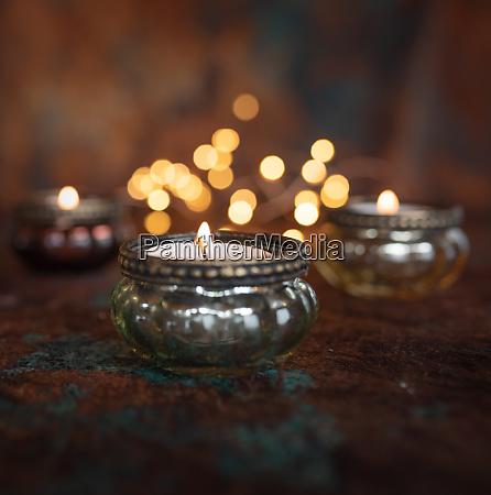 lume di candela di natale atmosferico