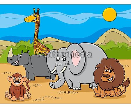 safari animali cartoon personaggi gruppo