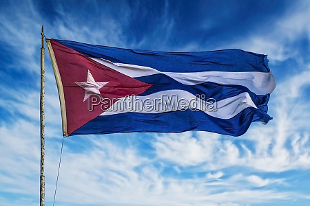 cuba havana vieja cuban flag waving