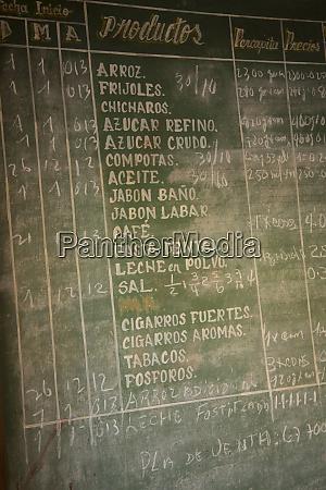cuba vinales blackboard segnaleta lista di