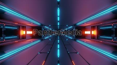 buio, futuristico, tunnel, spaziale, corridoio, 3d - 27345075