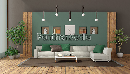 elegant living room with white sofa