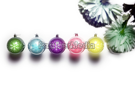 christmas balls isolated on white various