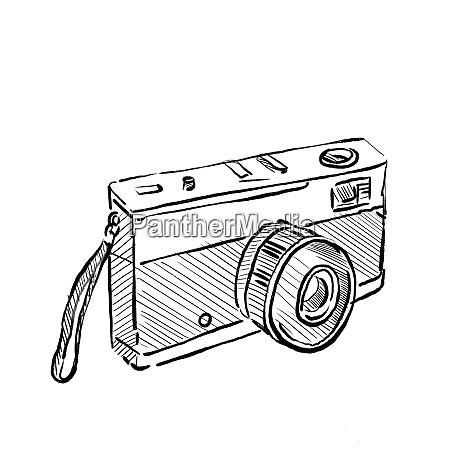 vintage 35mm slr film camera drawing