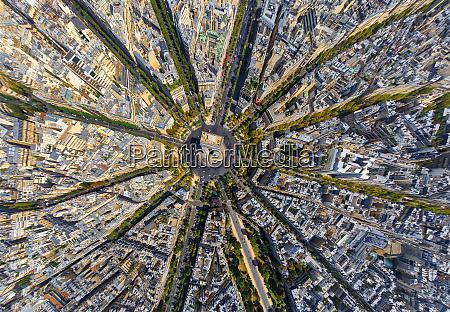 vista, aerea, sopra, l'arco, di, trionfo, parigi, francia. - 27448352
