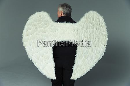 serene, man, wearing, angel, wings - 27457286