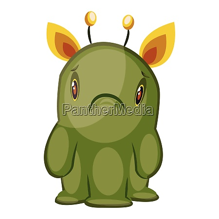 illustration of sad green monster with