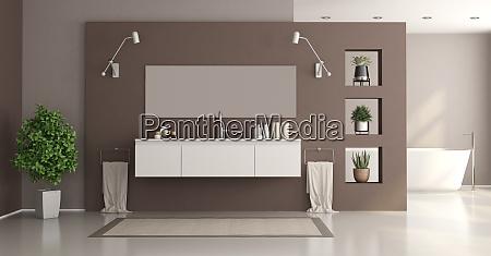 minimalist white and brown home bathroom