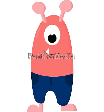 cartoon funny one eyed pink monster