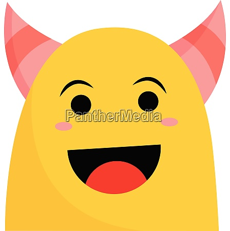 a smiling yellow monster with pink