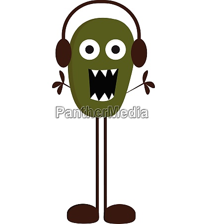 monster with earphones vector or color
