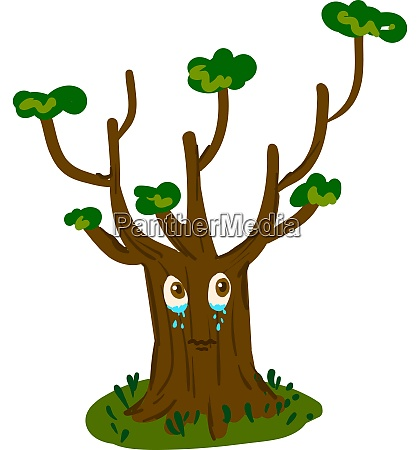 a big tree crying vector or