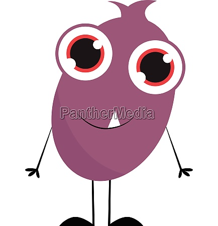 purple monster with big eyes vector
